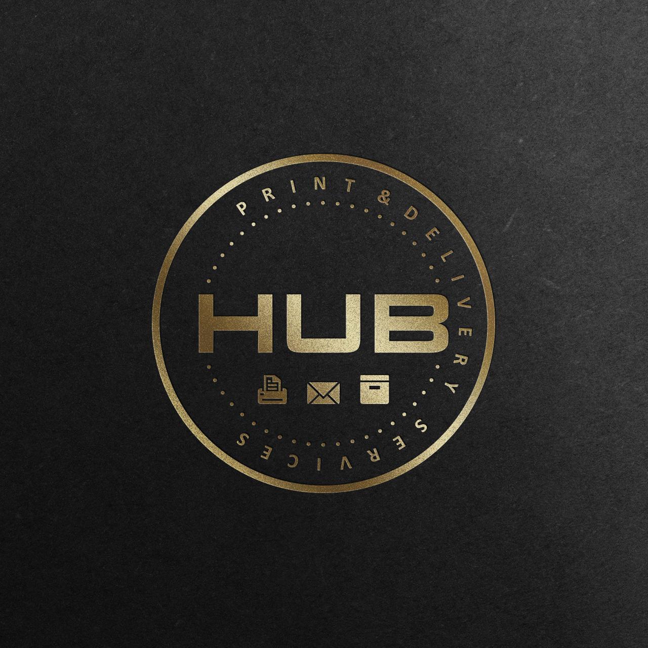HUB-logo-mockup-gold