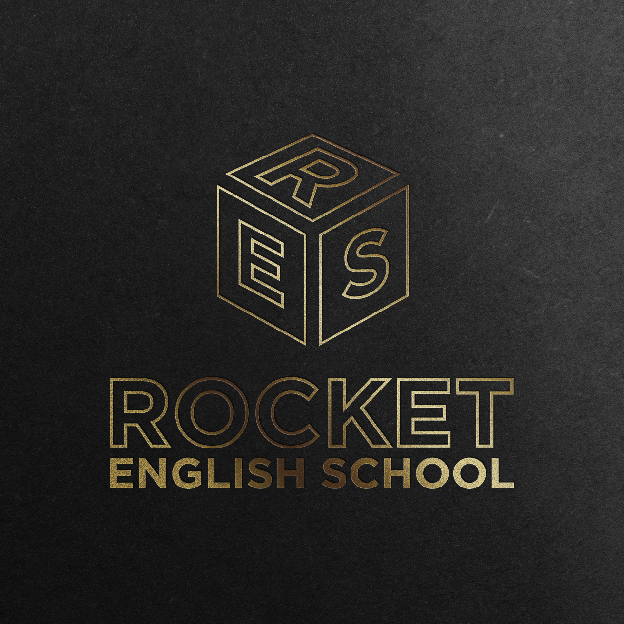 rocket english school-logo-mockup-gold